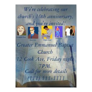 """Décimo aniversario de la iglesia invitación 5.5"""" x 7.5"""""""
