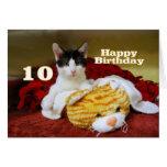 Décimo gatito del cumpleaños con el tigre del tarjeta de felicitación