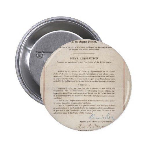 Décimo octava enmienda de la prohibición pin