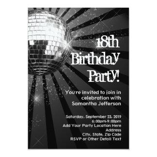Décimo octava fiesta de cumpleaños de la bola de invitaciones personalizada