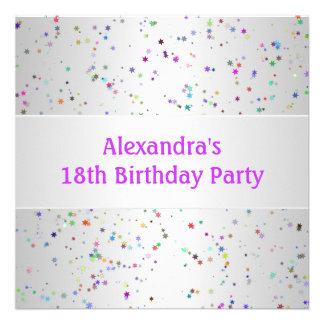Décimo octava fiesta de cumpleaños del confeti bla invitaciones personales