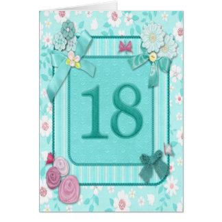 décimo octava tarjeta de cumpleaños con las flores