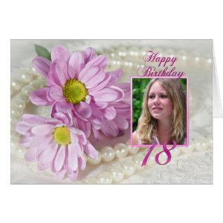 décimo octava tarjeta de la foto del cumpleaños