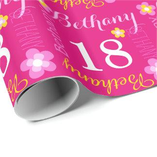 Décimo octavo abrigo personalizado flor del papel de regalo