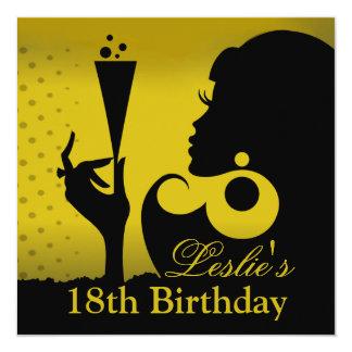 décimo octavo Amarillo del cóctel del cumpleaños Anuncios Personalizados