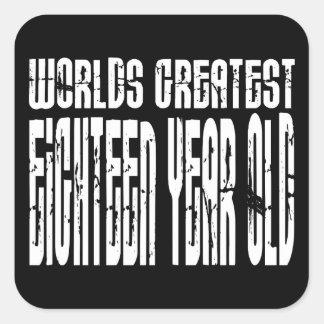 décimo octavo Años más grandes de los mundos del Pegatina Cuadradas Personalizadas