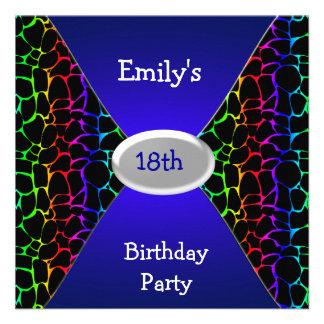 Décimo octavo azul de la fiesta de cumpleaños del anuncio