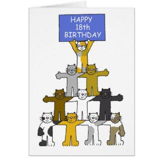 décimo octavo cumpleaños celebrado por los gatos tarjeta de felicitación