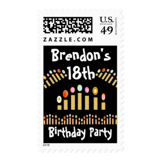 décimo octavo Cumpleaños con Oodles de las velas Franqueo