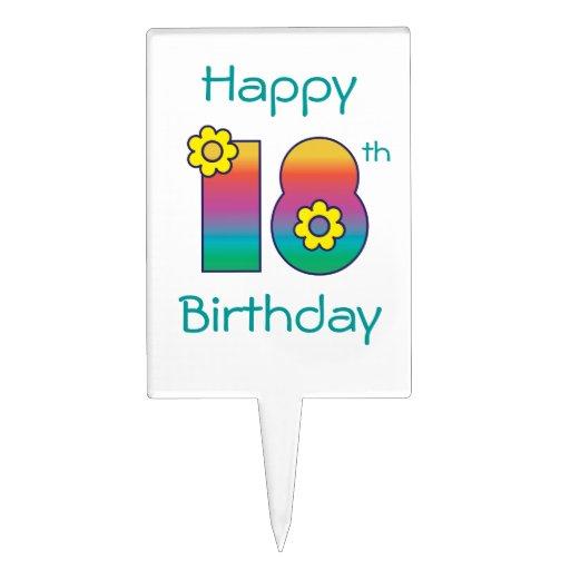 Décimo octavo cumpleaños feliz en el arco iris de  decoraciones para tartas