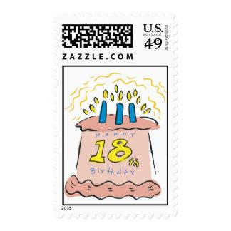 ¡Décimo octavo cumpleaños feliz! Estampillas