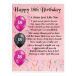 Décimo octavo cumpleaños feliz - poema de la herma postales