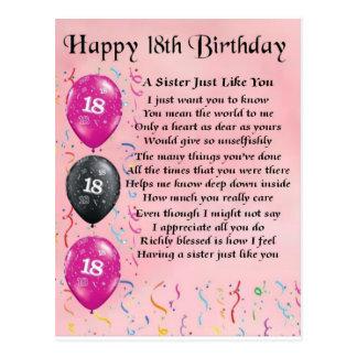 Décimo octavo cumpleaños feliz - poema de la herma tarjetas postales