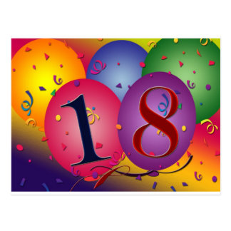 ¡Décimo octavo cumpleaños feliz! Tarjetas Postales