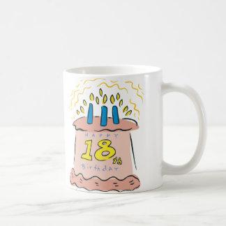 ¡Décimo octavo cumpleaños feliz! Taza Básica Blanca