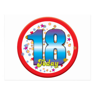 décimo octavo Cumpleaños hoy v2 Postal