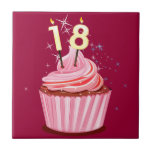 décimo octavo cumpleaños - magdalena rosada azulejo cerámica