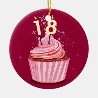 décimo octavo cumpleaños - magdalena rosada ornamento para arbol de navidad