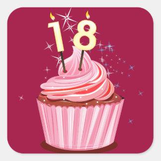 décimo octavo cumpleaños - magdalena rosada pegatina cuadradas