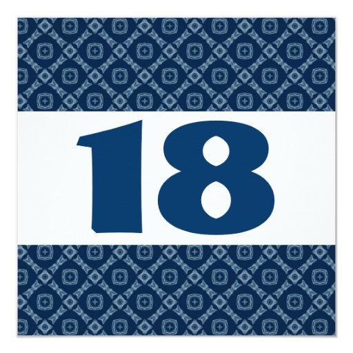 """décimo octavo Diamantes y cuadrados azules W909 de Invitación 5.25"""" X 5.25"""""""