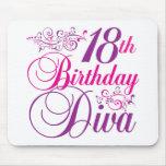 décimo octavo Diva del cumpleaños Alfombrillas De Raton
