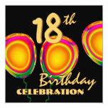 décimo octavo El oro del cumpleaños hincha W1186 Invitación 13,3 Cm X 13,3cm