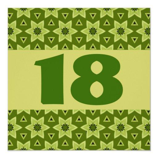 """décimo octavo El verde festivo de la fiesta de Invitación 5.25"""" X 5.25"""""""