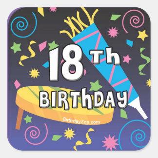 décimo octavo Favores del cumpleaños Colcomanias Cuadradas Personalizadas