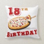 décimo octavo Fiesta de la pizza del cumpleaños Almohada