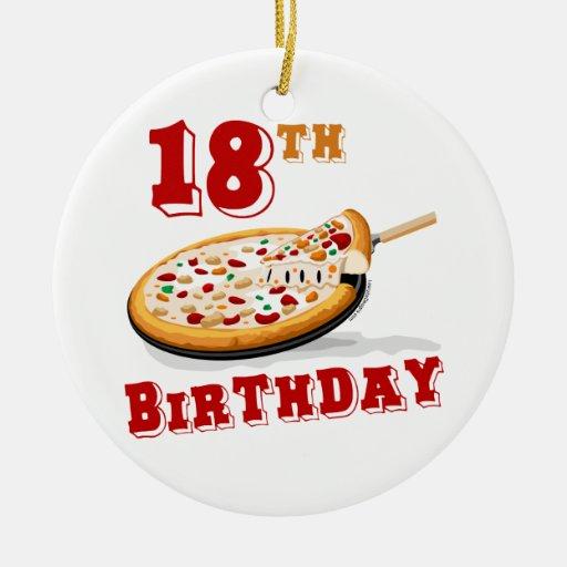 décimo octavo Fiesta de la pizza del cumpleaños Adorno Redondo De Cerámica