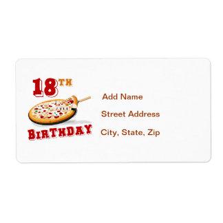 décimo octavo Fiesta de la pizza del cumpleaños Etiqueta De Envío