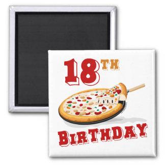 décimo octavo Fiesta de la pizza del cumpleaños Imán Cuadrado