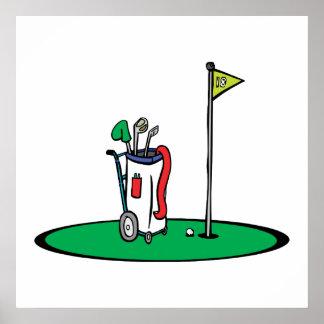 décimo octavo gráfico del golf del agujero poster