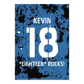 """décimo octavo Grunge AZUL F18Z de las rocas del Invitación 5"""" X 7"""""""