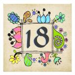 décimo octavo Invitación colorida de la fiesta de