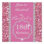décimo octavo Invitación ROSADA de la fiesta de Invitación 13,3 Cm X 13,3cm