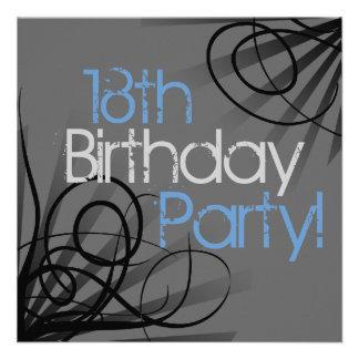 décimo octavo Invitaciones de la fiesta de cumplea Invitaciones Personalizada