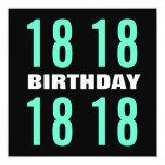 décimo octavo Menta moderna del cumpleaños y W1021 Invitación