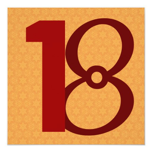 décimo octavo Oro de los granes números del Invitación 13,3 Cm X 13,3cm