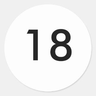 décimo octavo pegatina redonda