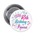 décimo octavo Princesa del cumpleaños Pin