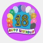 décimo octavo Regalos de cumpleaños con diseño Pegatina Redonda