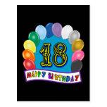 décimo octavo Regalos de cumpleaños con diseño Postal