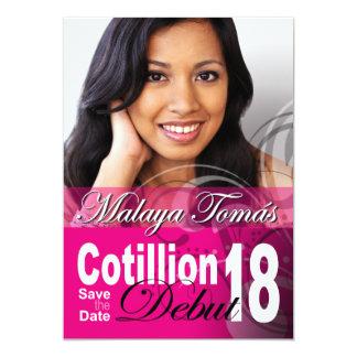 """décimo octavo Reserva del principio del Cotillion Invitación 5"""" X 7"""""""