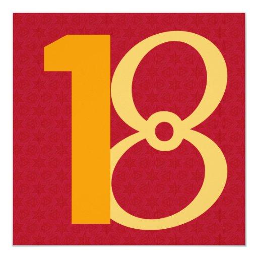 décimo octavo Rojo y oro W944 de los granes Comunicado Personalizado