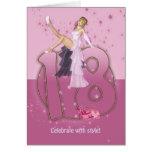 décimo octavo Rosa de la tarjeta de cumpleaños