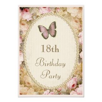 """décimo octavo Rosas mariposa, notas del vintage Invitación 5"""" X 7"""""""