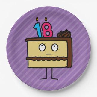 décimo octavo Torta de cumpleaños con las velas Platos De Papel