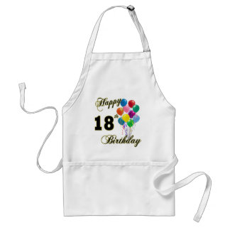 Décimo octavos regalos de cumpleaños felices delantal