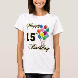 Décimo quinta camiseta feliz del cumpleaños